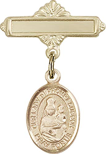 14kt Gold Filled Baby Badge with O/L of Prompt Succor Charm and Polished Badge Pin O/L of Prompt Succor is the Patron Saint of New Orleans, LA 1 X 5/8 ()