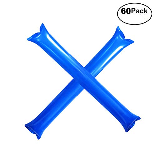 Furry Sunny Bam Bam Thunder Sticks Inflatable Cheer Sticks Blow Bar Inflatable Boom Sticks Noisemakers Stick Basketball Football Noisemakers Party Favors 60 Pack(Blue)