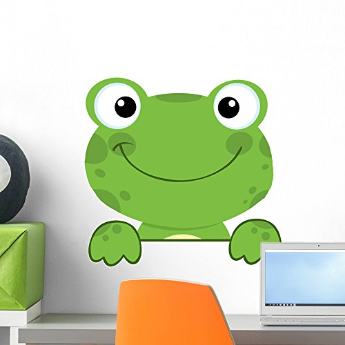 Wallmonkeys Cute Frog Smiling Wall Decal Peel and Stick Animal Graphics (18 in W x 17 in H) WM44777 ()
