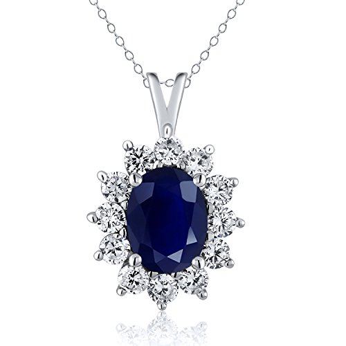 - Gem Stone King 925 Sterling Silver Blue Sapphire Pendant Necklace 2.39 Ctw Oval with 18