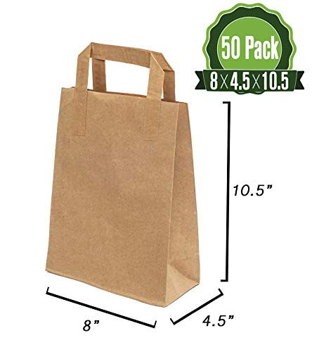 Brown Kraft Paper Gift Bags Bulk with Flat Handles 50Pc [ Ideal for Shopping, Packaging, Retail, Party, Craft, Gifts, Wedding, Recycled, Business, Goody and Merchandise ()
