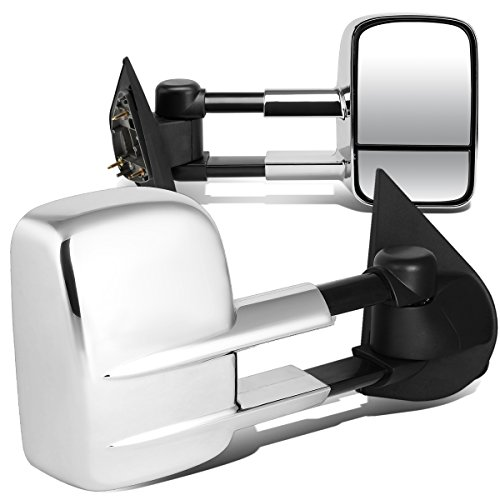 (For Ford F150 F250 Pair of Chrome Textured Telescoping Manual Extenable Side Towing Mirrors)