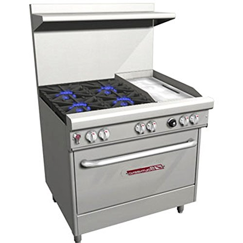 Southbend 4361D-1GR 36'' Ultimate Restaurant Gas Range w/ 4 Non Clog Burners, 12'' Right Griddle & Standard Oven by South Bend