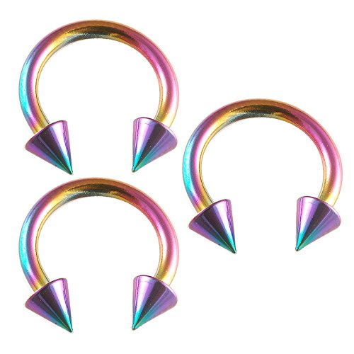 - 14g 14 gauge 1.6mm , 3/8 inch 10mm long -rainbow color anodized surgical steel circular barbell bulk eyebrow bar lip tragus horseshoe rings earrings lot BEVP- Pierced Jewelry Body Piercing Jewellery- Set of 3