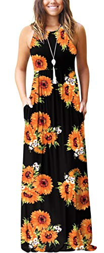 - GRECERELLE Women's Casual Loose Long Dress Sleeveless Floral Print Maxi Dresses with Pockets Sun Black-M