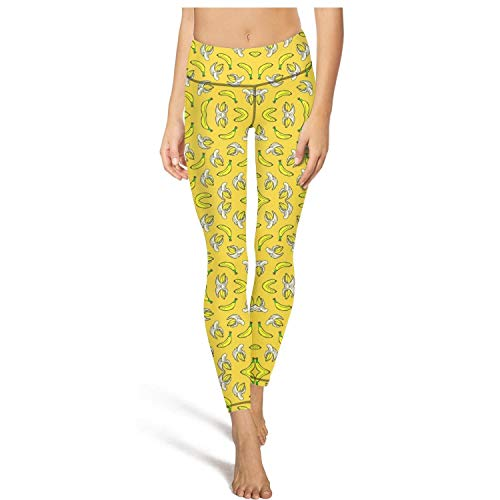 FItTer Yellow Banana Women Cute Yoga Pants Mesh Running Leggings Girls