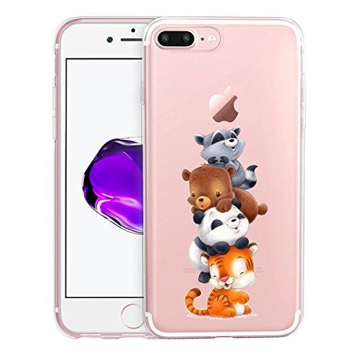 Funda para iPhone 7 Plus / 8 Plus , IJIA Transparente Gato Lindo TPU Silicona Suave Cover Tapa Caso Parachoques Carcasa Cubierta para Apple iPhone 7 Plus / 8 Plus (5.5) WM125