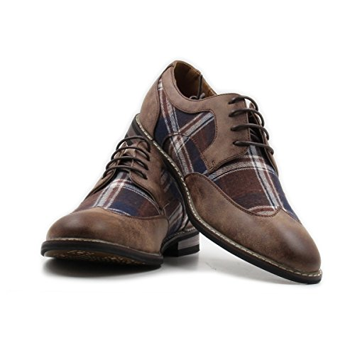 Stylish & Comfort Men's Lace Up Plaid Oxford Wing Tip Dress Classic Shoes (8, Brown/Brown/White)