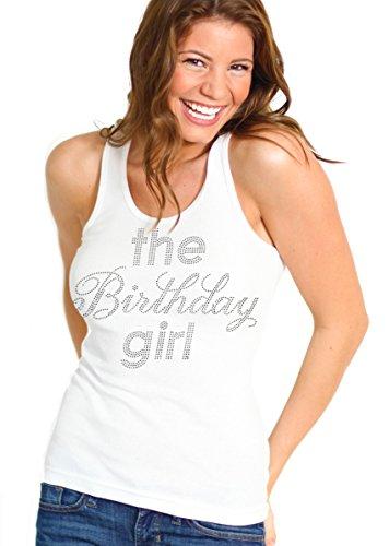 RhinestoneSash.com Women's The Birthday Girl Rhinestone Tank Top Large White