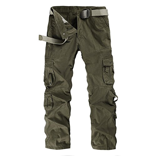 Ivan Johns Pants Cargo Pant Men Casual Army Military Trousers Multi-Pockets Straight 95% Cotton Tactical Pants 560 31 (560 Fit Loose Jeans)