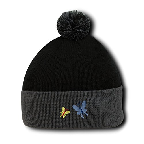 Butterflies Embroidery Embroidered Pom Pom Beanie Skully Hat Cap Black Gray (Embroidered Beanie Butterfly)