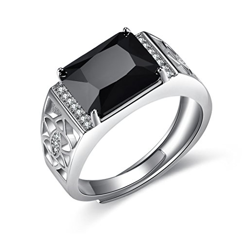 gn 925 Sterling Silver Simulated Black Diamond Adjustable Size Men's Ring Business Engagement Wedding Gift Size 7 to 13 ()