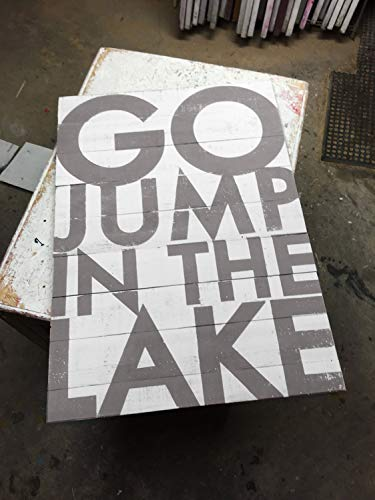 MaxwellYule Massive Rustic Lake Sign on Cedar Panels Inside Outside Go Jump in The Lake Large Lake House Decor