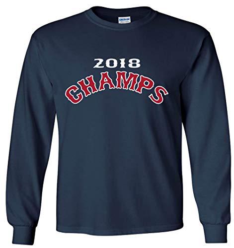 - Long Sleeve Navy Boston Series Champions 2018 Text T-Shirt Adult