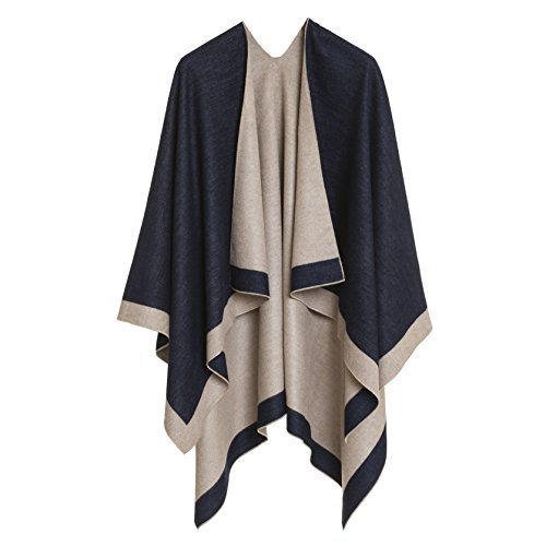 Cardigan Poncho Cape: Women Elegant Beige Navy Blue Cardigan Shawl Wrap Sweater Coat for Winter (Navy Beige)