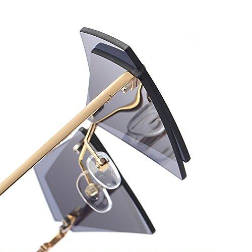 Conducción moda Damas para mujeres de para montura Triángulo Lentes Gafas de sol doble con negro color sin de Hombres Diseñador estuche de Eyewear la de lente marca amarillo hombre Negro 8qwPFqH