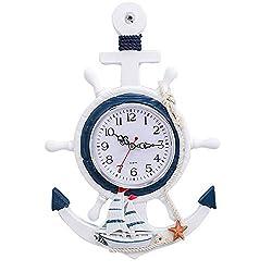HFJKD Retro European Style Simulated Pendulum Wall Clock,Quartz Silent Motion Design Blue and White Rudder Helmsman Anchor Creative Personality Wall Clock Electronic Watch