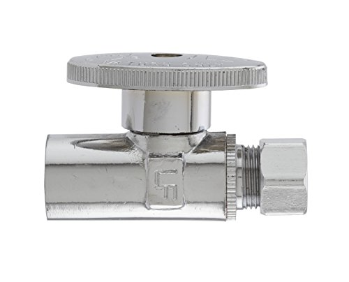 Plumb Pak PP20062LF 1/4 Turn Straight Shut-Off Valve, 1/2 X 3/8 in, Sweat X Od, Brass Body, Chrome Plated, 1/2