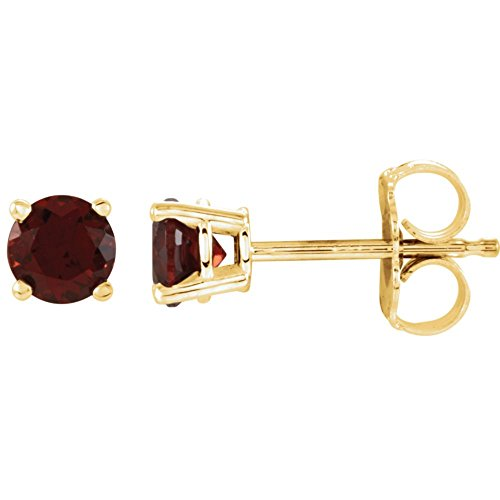 FB Jewels Set 14K Yellow Gold Genuine Mozambique Garnet 4 mm Friction Pair Polished Mozambique Garnet Earrings With Backs -