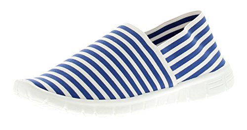 Wynsors Faith Womens Flats Blue Stripe - Blue Stripe - UK Sizes 3-8