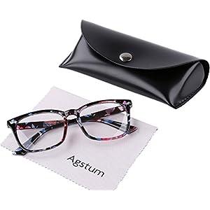 Agstum Wayfarer Plain Glasses Frame Eyeglasses Clear Lens (Flowers, 53)