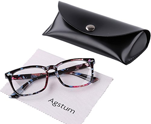 Agstum Wayfarer Plain Glasses Frame Eyeglasses Clear Lens (Flowers, 53)