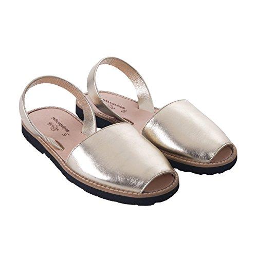 Avarca Minorquines-Sandalias de metal, diseño de mujer de Oro Dorado - oro