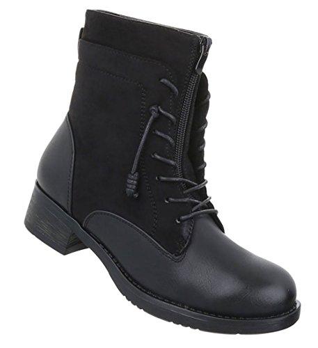 Damen Schnürer Used Stiefeletten Schwarz Schuhe Optik Boots rrZxU