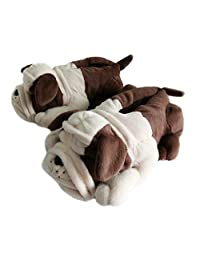 Onmygogo Fuzzy Winter Animal Slippers for Men, Bull Dogs