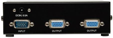Tripp Lite 2-Port VGA//SVGA Video Splitter with Signal Booster 350MHz, - Metal High Resolution Video B114-002-R HD15 M//2xF