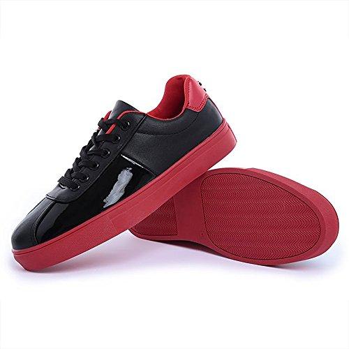 basso verniciata shoes da tacco 41 uomo Scarpe Xiaojuan tinta Giallo in pelle EU unita Color casual con Nero Dimensione 17WfHq