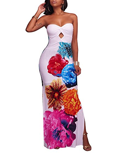 Women's Sexy Wrap Chest Floral Print Summer Casual Bodycon Off Shoulder Stretch Party Long Maxi Dress FlowerWhite Floral Long Shorts