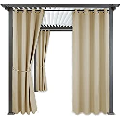 "RYB HOME Outdoor Curtain Shades - Blackout Curtain Blind Indoor Outdoor Décor Top Grommet Rust Proof Water & Wind Repellent for Patio/Gazebo / Deck, 1 Panel, Width 52"" x Length 84"", Cream Beige"