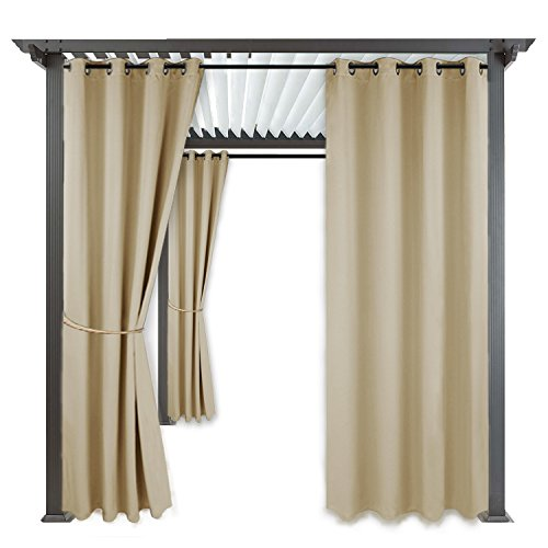 RYB HOME Outdoor Curtain Shades - Blackout Curtain Blind Indoor Outdoor Décor Top Grommet Rust Proof Water & Wind Repellent for Patio/Gazebo / Deck, 1 Panel, Width 52'' x Length 84'', Cream Beige by RYB HOME
