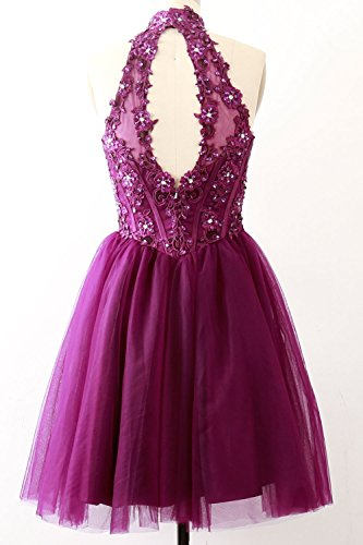 MACloth Pageant Lace High Women Dress Cocktail Short Party Dunkelmarine Gala Neck Gown qTq6frA