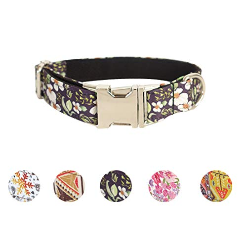 Sawors Pet 5 Patterns Made Well Black Floral Print Dog Colla