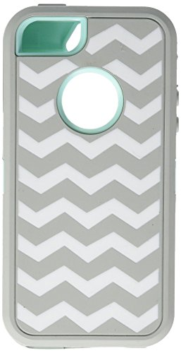 Hybrid Armor Rubber Silicone Cover Case for iPhone 5, 5S - Gary/Light Blue with White Wave Dog Tag Style Fan Tags