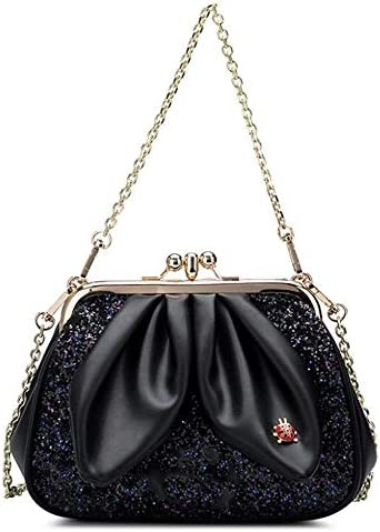 HEMFV 女性ファッションショルダーバッグミニクラッチハンドバッグクロスボディチェーンストラップ付き (Color : Black)