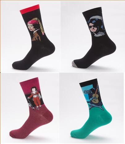 Chalier 4 Pairs Womens Famous Painting Socks Art Printed Pattern Funny Casual Cotton Crew Socks