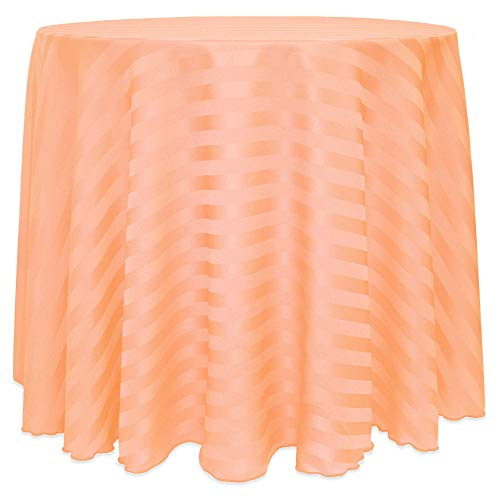 Ultimate Textile -10 Pack- Satin-Stripe 60-Inch Round Tablecloth - Fits Tables Smaller Than 60-Inches in Diameter, Peach