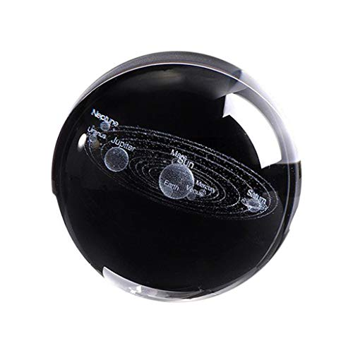 - 3D Solar System Crystal Ball Engraved Solar System Miniature Planets Model - Simulated Planet Pure Clear Crystal Ball for Home Furnishings and Gifts
