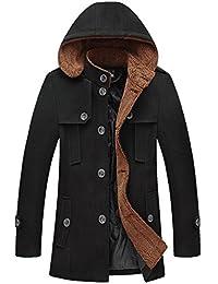 Jinmen Mens Wool Slim Hooded Trench Coat Warm Pea Coat Parka