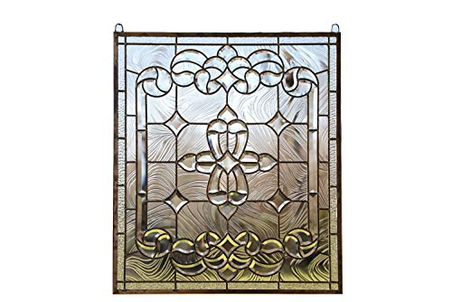 (Stunning Tiffany Style Stained Glass Clear Beveled Window Panel, 24
