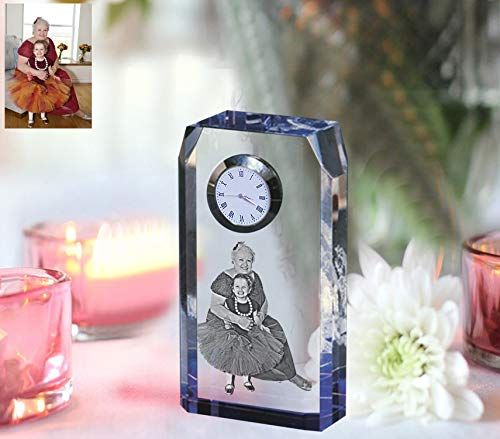 Lazertek Personalised Glass Mantel - Desk Clock/Custom Gift - Your Picture and Text Engraved Inside The Crystal Block