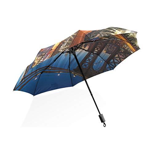 XiangHeFu Umbrella New York City Beautiful Sunset Manhattan Auto Open Close 3 Folds Lightweight Anti-UV