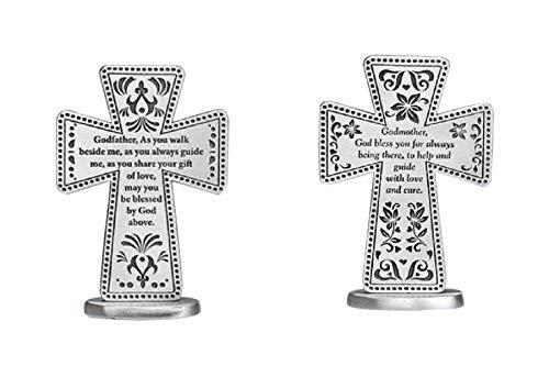 - Pewter Godmother & Godfather Standing Message Cross Set (2 Pcs)