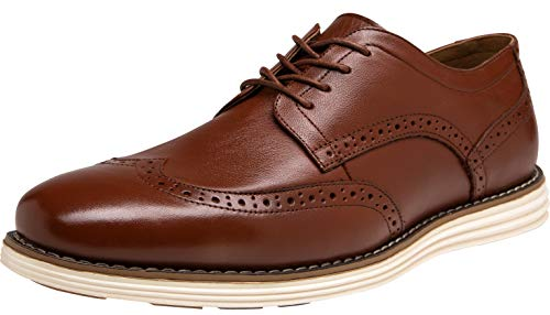 (JOUSEN Men's Oxford Leather Dress Shoes Brogue Wingtip Casual Shoes (13,Oxblood))