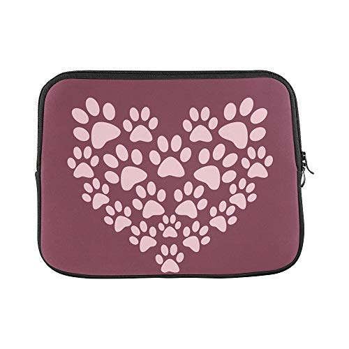 int Paw Prints Heart Cute Pink Burgundy Sleeve Soft Laptop Case Bag Pouch Skin for MacBook Air 11