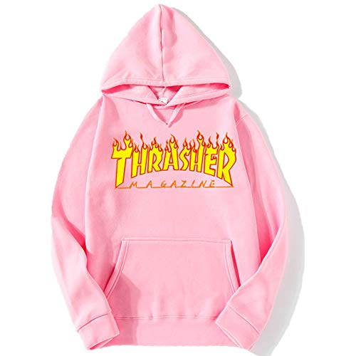 (Jkaer Flame Thrasher Magezine Hoodie for Man Pullover Long Sleeve Sweatshirt Unisex (Pink, S) )