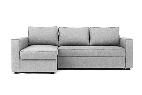 Abakus Direct Boston Corner Sofa Bed Storage in Grey - Left Hand